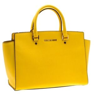 Michael Kors Yellow Saffiano Leather Satchel